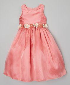 Coral Flower Dress - Toddler & Girls