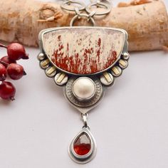 Alunite Necklace with Garnet, Pearl and Gold Details by Sjostrand Studio on Etsy.