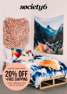 Shop Wall Tapestries, Comforters, Duvet Covers, Art Prints, Pillows, and more! For a limited time, all orders are 20% off and include free worldwide shipping. Click through this pin to activate discount.