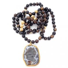 Knotted Dark Wood & Geode by Gold & Gray Jewelry. Dark wood beads and a geode are naturally beautiful. I'd wear this with everything.