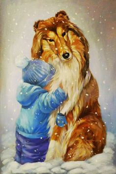 Collie and child art. Rough Collie, Collie Dog, Best Dog Breeds, Best Dogs, Mary Engelbreit, Christmas Animals, Sheltie, Dog Art, Dogs And Puppies