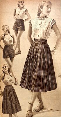 "'An adorably demure polka dotty wardrobe from 1952 ""makes four outfits, each worth a big rave"" (!) It was available in navy/white and red/white colourways.'   via Tuppence Ha'penny  http://blog.tuppencehapenny.co.uk/2012/07/travelling-light-weekend-wardrobes.html"