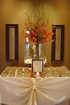 Wedding, Flowers, Reception, Orange, Brown, Gold, Table, Card