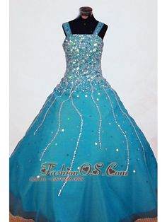 Beading A-line Gorgeous Straps Organza Teal Floor-length Little Girl Pageant Dresses  http://www.fashionos.com  http://www.facebook.com/quinceaneradress.fashionos.us  Stand out the turquoise ball-gown. The straight-neckline bodice encrusted by the beaded thin straps and crowded colourful crystals fits torso perfectly. The unique beading designs on skirt gives a flowy look. You deserve to have this one.