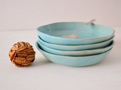 Handmade Ceramic Bowls Stoneware Bowls Blue by jillzeidler on Etsy