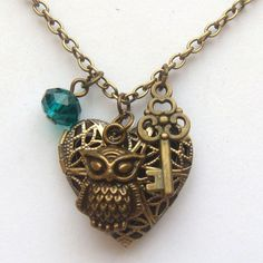Antiqued Brass Owl Key Quartz Locket Necklace