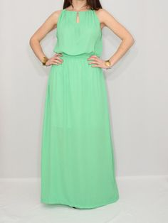 Party Dress Mint Green Chiffon Dress Maxi Dress by KSclothing, $30.00