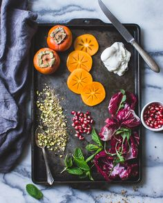 Persimmon + Pomegranate Salad with Burrata + Pistachio Dukkah