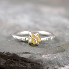 Uncut Rough Diamond Solitaire Engagement Ring     by ASecondTime, $215.00