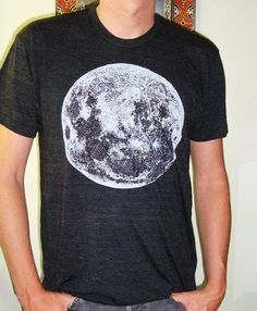 Space Moon guys trac T Shirt by circularaccessories on Etsy - Nate Moon Print, Heather Grey, T Shirts For Women, Guys, Space, Mens Tops, How To Make, Cotton, Professor