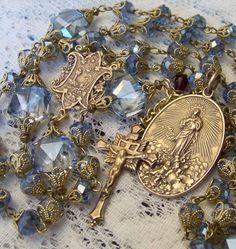 French Rosary ~ Assumption of Mary ~ Blue Crystal ~ Antique Bronze Design ~ Rosary Prayer, Praying The Rosary, Holy Rosary, Prayer Beads, Catholic Jewelry, Rosary Catholic, Assumption Of Mary, Rosary Beads, Beads And Wire