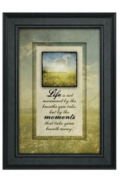 "Lightscapes framed art is a beautifully framed artwork that displays the saying ""Life is not measured by the breaths we take, but by the moments that take our breath away"". Product is made by people with disabilities and other barriers to employment.    Measures: 14.5"" x 10.5""    Lightscapes Framed Art by Imagine Design. Home & Gifts - Home Decor - Wall Art Louisiana"