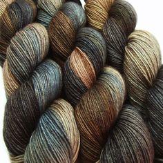 sw wool nylon sock yarn STEEL DUST hand dyed by lanitiumexmachina, $20.00
