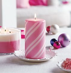 Partylite Peppermint Snow Pillar Candle Medium