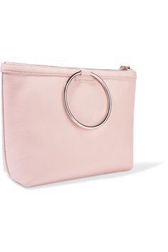 KARA - Ring Textured-leather Clutch - Baby pink - one size
