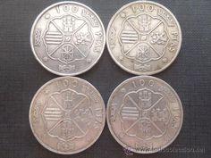 lote 4 monedas plata 800 19gr. de 100 pesetas estado español franco 1966 km 797 ebc