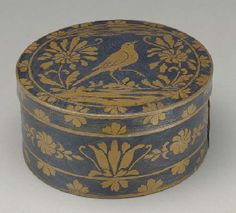 BLUE PAINTED AND STENCIL DECORATED ROUND SEWING BOX PROBABLY ENGLISH, 19TH CENTURY