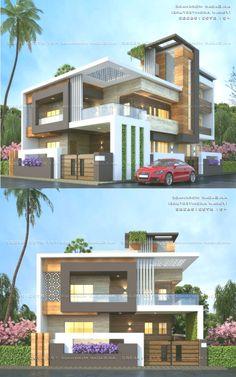 Sagar Morkhade (Vdraw Arc… By, Ar. Modern Exterior House Designs, Modern House Facades, Modern Bungalow House, Latest House Designs, House Paint Exterior, Bungalow Exterior, Modern Architecture, House Front Wall Design, House Outside Design