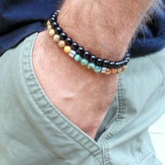 Mens bracelet stack Matte Black onyx African Turquoise Bracelets set for Men  #Handmade #Surfer
