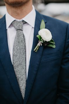 Knit gray tie: http://www.stylemepretty.com/2016/04/08/a-navy-yard-wedding-with-boston-skyline-views/ | Photography: Dylan and Sara - http://dylandsara.com/