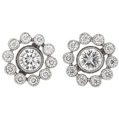 Preowned Tiffany & Co. Diamond Platinum Stud Earrings (183,780 DOP) ❤ liked on Polyvore featuring jewelry, earrings, multiple, earrings jewelry, round stud earrings, platinum jewelry, preowned jewelry and diamond cluster earrings