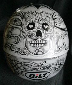 Silver #motorcycle helmet with #sugarskull design | Sharpie Paint Pen