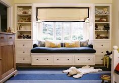 built-in window seat and storage on each side.