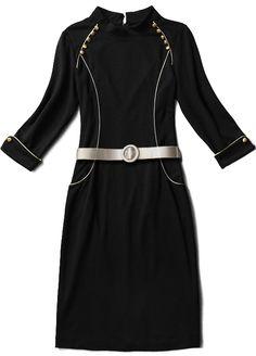 Black Long Sleeve Buttons Belt Embellished Dress - Sheinside.com