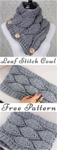 Crochet Leaf Stitch Cowl Free Pattern