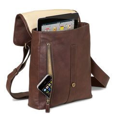 Belmont iPad Messenger - Leather ipad messenger bag, Men's messenger bag - Levenger