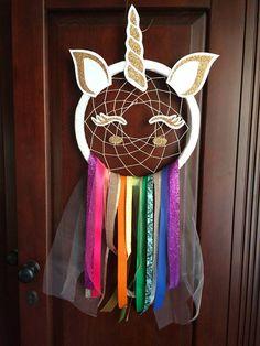 Unicorn rainbow dream catcher. Girls room decor. Dream