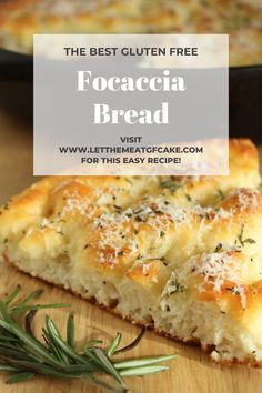 It's so easy to make this wonderful gluten free focaccia bread! It's light and airy with a crunchy top and bottom crust. Focaccia is flavored with olive oil, rosemary, sea salt, and a light sprinkling of parmesan cheese. Gluten Free Bagels, Gluten Free Dinner, Gluten Free Cookies, Gluten Free Baking, Gluten Free Focaccia Bread Recipe, Wheat Free Recipes, Gf Recipes, Dairy Free Recipes, Vegan Bread