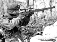 Australian sniper during war in Korea.                                                                                                                                                     More