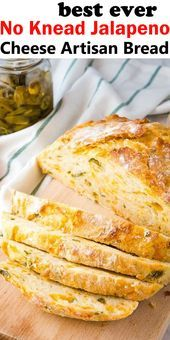 Easy No Knead Jalapeno Cheese Artisan Bread Easy No Knead Jalapeno Cheese Artisan Bread This Easy No Knead Jalapeno Cheese Artisa. Healthy Dessert Recipes, Healthy Dinner Recipes, Cooking Recipes, Jalapeno Cheese Bread, Cheddar Cheese, Easy Family Meals, Easy Meals, Bread Ingredients, Artisan Bread