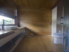 Wood tiles in bathroom