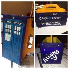 I just made this today for my classroom. It's a Doctor Who pencil holder. Really nerdy I know. -JoAnna Barker #Doctorwho #Davidtennant #tardis