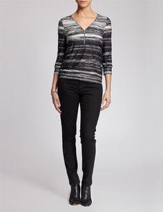Striped zipped top