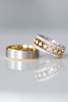 Mixed metals are a big trend for wedding rings. We love the mix of yellow and white gold combined with diamonds from Beverly-K @greenwichjwlrs and @BlueNile. You can pair a mixed metal wedding ring with with just about any engagement ring.