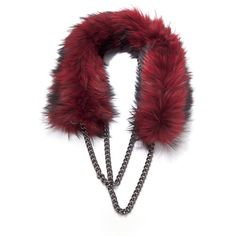 Wyler: Raccoon Eternity Chain Scarf in Red ($1,925) ❤ liked on Polyvore