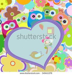 owls in flowers with big heart. vector greetings card