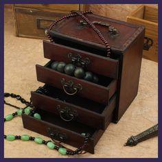 Wooden Box jewelry dressing box with four layers of retro drawer with a mirror caixa boite de rangement organizador de gaveta