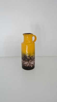 Glorious Yellow and Brown Vintage West German Scheurich Lava Vase 401-20