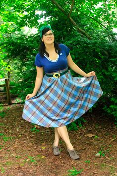 Kristina wearing her own plaid skirt and a blue top - inspired by Sweater Girls.