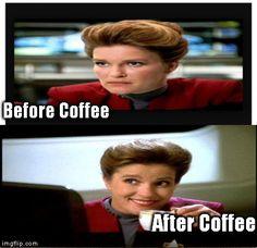 Janeway Coffee | Before Coffee After Coffee | image tagged in star trek,janeway,star trek voyager,voyager,memes | made w/ Imgflip meme maker