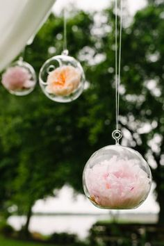 Floating bulbs with peonies: http://www.stylemepretty.com/2014/11/19/rustic-summer-wedding-at-magnolia-plantation/ | Photography: Riverland - http://riverlandstudios.com/