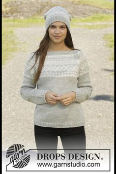 Women - Free knitting patterns and crochet patterns by DROPS Design Drops Design, Sweater Knitting Patterns, Knit Patterns, Fair Isle Knitting, Free Knitting, Cardigan, Pullover Sweaters, Pull Poncho, Rowan Felted Tweed