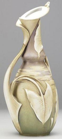 Teplitz Porcelain; Amphora, Riessner, Stellmacher & Kessell, Vase, Cala Lily, 14 inch.