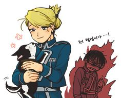 Mustang is a bit jealous, eh? Question is: is he jealous of the dog or Riza? It's the dog. He's definitely jealous of the dog