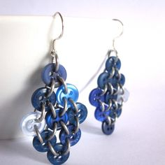Button earrings Cool variation of chain mail