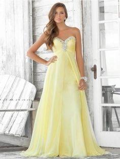 Charming A-line Sweetheart Sleeveless Floor-Length Chiffon Dress. NOT YELLOW